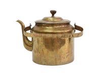 老黄铜水壶 图库摄影