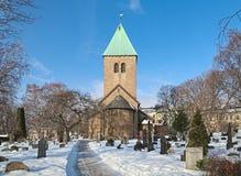 老Aker教会,最旧的常设大厦在奥斯陆,挪威 库存图片