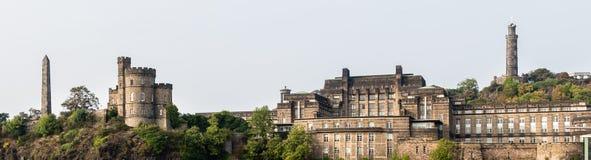 老Calton公墓和董事庭院全景在爱丁堡, 图库摄影