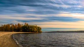 老Dnieper -乌克兰扎波罗热的海岸 免版税库存图片