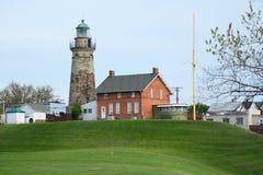 老Fairport港口灯塔,在1825年修造 库存照片