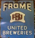 老Frome团结的啤酒厂匾 库存照片