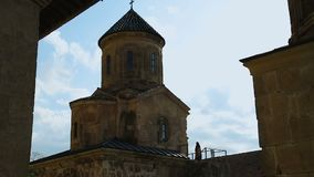 老Gelati修道院屋顶和钟楼、古老建筑学和文化 影视素材