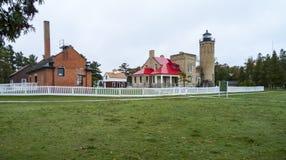 老Mackinac公园灯塔 免版税库存图片
