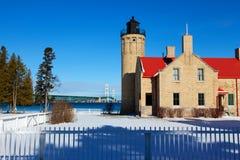 老Mackinac点灯塔在冬天 库存照片