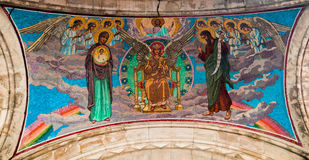 老mozaic被安置在救主的正统基督教会门廊屋顶下在Spilled血液 库存图片