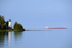 老Presque小岛灯塔,在1840年修造 库存图片