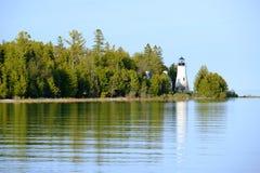 老Presque小岛灯塔,在1840年修造 库存照片