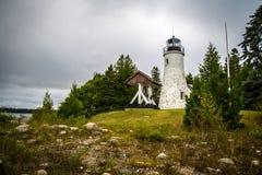 老Presque小岛灯塔 图库摄影
