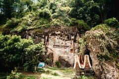 老torajan掩埋处在Lemo,塔娜Toraja,苏拉威西岛,印度尼西亚 有在洞安置的棺材的公墓 免版税库存图片
