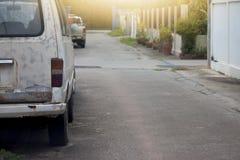 老van car在城市 库存照片