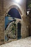 老Yafo市的装饰地图在房子的墙壁上的Tel的Aviv-Yafo老城市的Yafo在以色列 图库摄影