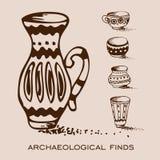 考古发现 花瓶和投手 库存图片
