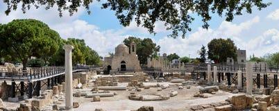 考古学公园在中心,帕福斯,塞浦路斯 库存照片