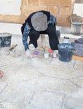 考古学家在工作在古老凯瑟里雅 库存图片