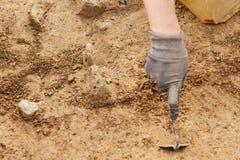 考古学工具、考古学家工作在站点的,手和工具 免版税库存照片