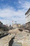 考古学挖掘和土耳其清真寺在市的中心索非亚,保加利亚 库存照片