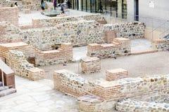 考古学挖掘在市的中心索非亚,保加利亚 库存图片