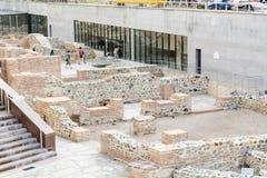 考古学挖掘在市的中心索非亚,保加利亚 免版税图库摄影