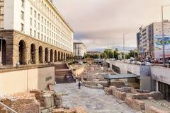 考古学挖掘在市的中心索非亚,保加利亚 免版税库存照片