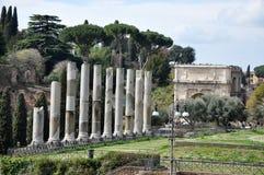 考古学挖掘在罗马广场,罗马,意大利 图库摄影