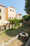 考古学挖掘在老布德瓦,黑山 免版税图库摄影