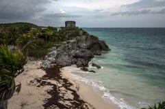 考古学站点, Tulum,在金塔纳罗奥州,墨西哥 库存照片