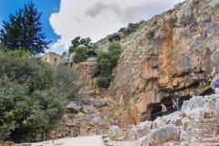 考古学站点-上帝平底锅洞在Banias国家公园,以色列 库存照片
