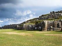 考古学站点Sacsayhuaman,在库斯科省-秘鲁 免版税库存照片