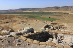考古学运作在Judeia小山的Tel Sokho或Tel Suqo 免版税图库摄影