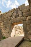 考古学门希腊狮子mycenae peloponnese站点 库存图片