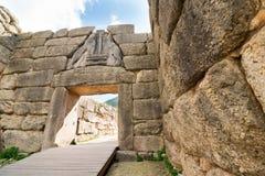 考古学门希腊狮子mycenae peloponnese站点 库存照片