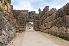 考古学门希腊狮子mycenae peloponnese站点 免版税库存图片