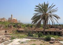 考古学浴黎巴嫩罗马站点轮胎 图库摄影