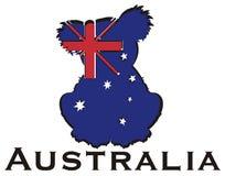 考拉剪影在澳大利亚旗子的与词 免版税库存图片