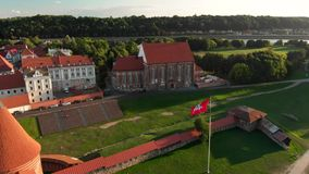 考纳斯城堡鸟瞰图  股票录像