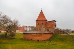 考纳斯城堡,在考纳斯位于的中世纪城堡 免版税库存照片