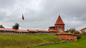 考纳斯城堡,被修造在中间的14世纪期间 库存照片