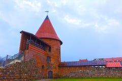 考纳斯城堡,被修造在14世纪中叶期间,在哥特式样式,考纳斯,立陶宛 免版税库存图片
