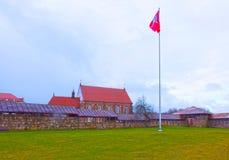 考纳斯城堡,被修造在14世纪中叶期间,在哥特式样式,考纳斯,立陶宛 库存图片