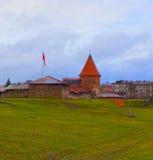 考纳斯城堡,被修造在14世纪中叶期间,在哥特式样式,考纳斯,立陶宛 库存照片