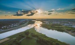 考纳斯市,立陶宛的空中图象 免版税图库摄影