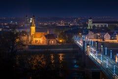 考纳斯河和镇的全景  库存图片