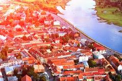 考纳斯老镇风景 免版税库存图片