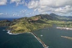 考艾岛夏威夷海岛山鸟瞰图 库存照片