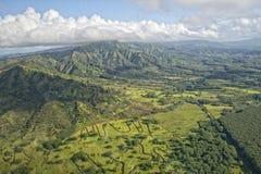 考艾岛夏威夷海岛山鸟瞰图 免版税库存照片