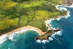 考艾岛海岛海岸线鸟瞰图  库存照片