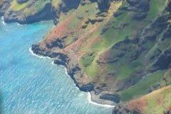 考艾岛海岛的海岸从鸟` s眼睛视图的 库存照片