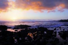 考艾岛,日落的夏威夷 免版税库存图片