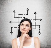 考虑关于复杂的问题的可能解决方案的一名深色的妇女 与不同直接的许多箭头 库存图片